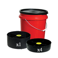 Bucket Organizer with (1) Large Tray and (4) Small Trays